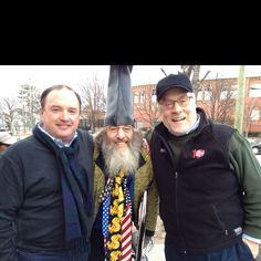 PWG with Mike Murphy of Meet the Press and candidate Vermin Supreme outside the Gingrich campaign stop in Manchester.