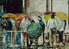 """rainy day lineup San marco Venice 15"""" x 20"""" micheal zarowsky / watercolour on arches paper / available $600.00"""