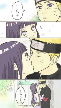 Naruto, Hinata, couple, kiss, text, comic; Naruto