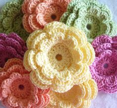 Crochet Embellishments, Large Three-Layer Flowers, set of 8, Rainbow Sherbet Colors