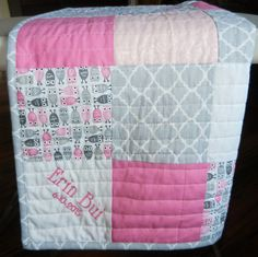 Pink, gray, white baby quilt with Owl theme, Personalized