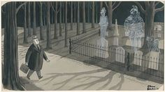 CHARLES ADDAMS - Man walking by graveyard, c 1962 - item by jhalpe Charles Addams, Haunted Mansion, Walking By, Disney Parks, Mansions, Eccentric, History, Cartoons, Painting
