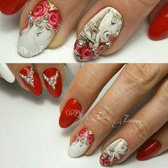 Christmas Nail Art Designs, Christmas Nails, Uñas One Stroke, Paris Nails, Nailart, Art Simple, Vintage Nails, City Nails, Different Nail Designs
