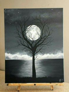 Easy paintings · acrylic canvas, painting on black canvas, painting trees on canvas, unity painting, Black Canvas Paintings, Easy Canvas Painting, Moon Painting, Acrylic Canvas, Easy Paintings, Tree Paintings, Unity Painting, Painting Art, Diy Canvas