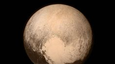 """This is one of the newest pictures taken of Pluto. It was taken by NASA's """"New Horizons"""" craft that has been travelling billions of km's, taking it close to 10 years to reach Pluto."""