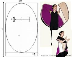 DIY Vest Pattern for making your own oval vest Long Vest pattern from in-RHED-ando chalina circular no-sew jacket circle coat Un ovale qui devient gilet capa ovalada patron Lower armholes to make collar longer for sleeves Diy Clothing, Sewing Clothes, Clothing Patterns, Dress Patterns, Sewing Patterns, Crochet Patterns, Sewing Hacks, Sewing Tutorials, Sewing Crafts
