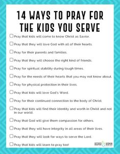 14 Ways to Pray for the Kids You Serve Printable - Deeper KidMin Sunday School Activities, Church Activities, Bible Activities, Sunday School Crafts, Sunday School Classroom, Youth Group Activities, Bible Games, School Staff, Bible Lessons For Kids