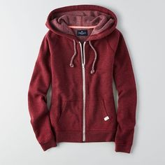 American Eagle Outfitters American Eagle Full Zip Hoodie ($35) ❤ liked on Polyvore featuring tops, hoodies, maroon, long hoodie, embroidered top, red hoodies, long tops and sweatshirts hoodies