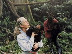 Jane Goodall  1934-  PRIMATOLOGIST AND CONSERVATIONIST    Fifty years ago she began studying chimpanzee families at the Gombe Stream National Park in Tanzania — and in the process taught us much about our own. Roots & Shoots, her environmental organization for kids, has tens of thousands of participants — a new generation ready to protect wild things and their habitats.