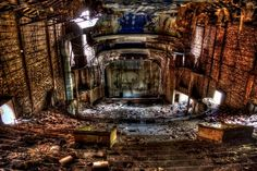 THE 50 STRANGEST ABANDONED PLACES BY STATE 14. Indiana - The Palace Theater Some towns have just been ravaged for various reasons over the past century, but few loses can compare to what was the once-beautiful Palace Theater in Gary, IN. Light now shines through its roof, and the artwork is weathering away with time.