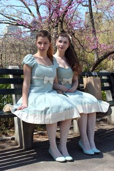 Twins in Central Park! (We are not actually twins, just sisters. Lolita Fashion, Girl Fashion, Petticoated Boys, Pantyhose Outfits, Pantyhose Heels, Girly Girl Outfits, Preteen Girls Fashion, Casual Party Dresses, Fantasy Dress