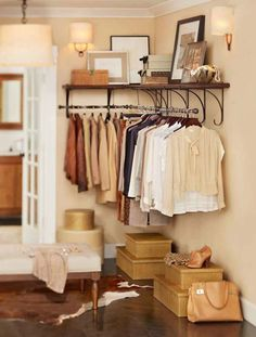 closet organizing ideas pottery barn NY shelf rack....More closet ideas to do for my clothes, this would look perfect in our basement!