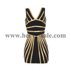Herve Leger Black Golden Lines V-neck Bandage Dress H315LG
