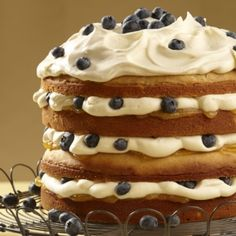 Lemon Blueberry Torte with Crème Fraiche Whipped Cream from @Wilton Cake Decorating Cake Decorating Treatology