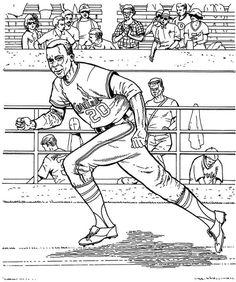 Cardinals Runner Baseball Coloring Page | Purple Kitty