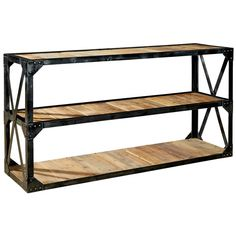 This vintage industrial console table, made from recycled fir and aged steel, features three recycled wood shelves, perfect for storing and displaying anything from cherished photos to blankets and throws while adding industrial farmhouse style to your sp