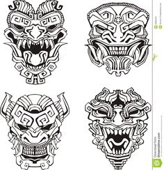 Find Aztec Monster Totem Masks Set Black stock images in HD and millions of other royalty-free stock photos, illustrations and vectors in the Shutterstock collection. Totem Tattoo, Hawaiianisches Tattoo, Mask Tattoo, Thai Tattoo, Samoan Tattoo, Tattoo Flash, Tattoo Drawings, Body Art Tattoos, Tribal Tattoos
