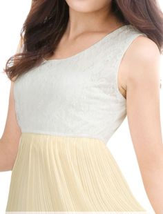 Allegra K Women Lace Panel Elastic Waist Pleated Chiffon Dresses Beige White M -- You can get additional details at the image link. (This is an affiliate link) #CasualDresses