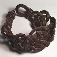 Petite Leather Cuff -- Celtic Round We Go Spanish Leather Wristband