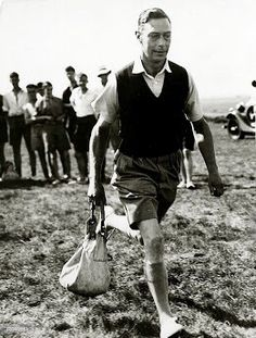 H.R.H. Prince Albert, Duke of York. (Later H.M. King George VI), takes part in a bag carrying race at a boys camp in Southwold, Suffolk. 1935.