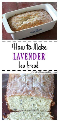 Lavender Tea Bread - Creative Homemaking - need that pan! Köstliche Desserts, Delicious Desserts, Dessert Recipes, Yummy Food, Tasty, Gourmet Recipes, Sweet Recipes, Baking Recipes, Fun Recipes
