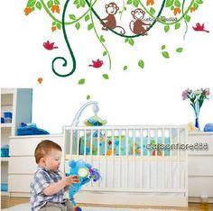 Cheeky Monkeys On Tree Wall Stickers Nursery Girl Boy baby Room Vinyl Art Decal | eBay
