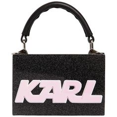 Karl Lagerfeld Women K/sporty Glittered Box Clutch (1442395 PYG) ❤ liked on Polyvore featuring bags, handbags, clutches, black, glitter handbag, sporty purses, karl lagerfeld handbags, karl lagerfeld purse and top handle leather handbags #BlackGlitter