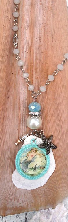 Vintage Mermaid Pearl Necklace Shell Ocean Beach by Secret Stash Boutique on Etsy