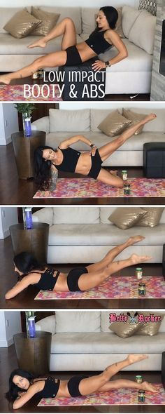 Low impact booty and abs workout plus bonus information on how to fuel your body pre and post workout :) Re-pin this so I know you like it and want me to share more!