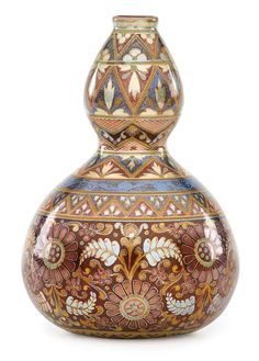 "Zsolnay Small double-gourd vase with stylized flowers, eosin glaze, Pecs, Hungary, 1890s Five churches ZSOLNAY PECS backstamp, impressed 531/0 5 1/2"" x 3 1/2"" R17/e1690U"