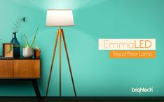 Brightech Emma LED Tripod Floor Lamp- Modern Design Wood Mid Century Style Lighting for Contemporary Living or Family Rooms - Ambient Light Tall Standing Survey Lamp for Bedroom, Office White - - Amazon.com