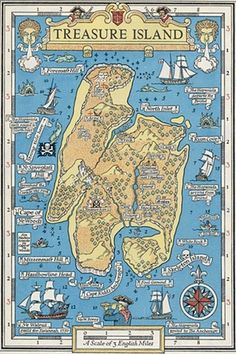 map of Robert Louis Stevenson's Treasure Island, one of the earliest books for children/young adults to include a map