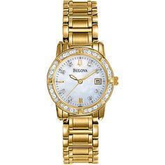 Bulova Womens Diamond-Accent Gold-Tone Stainless Steel Bracelet Watch... ($285) ❤ liked on Polyvore featuring jewelry, watches, gold colored jewelry, stainless steel bracelet watch, diamond accent jewelry, bulova watches and stainless steel jewelry