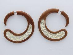 Fake gauge earrings,Organic White Bone Earrings ,tribal style,organic,natural