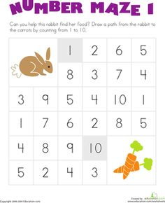 Kindergarten Counting & Numbers Worksheets: Number Maze: Help the Hungry Bunny!