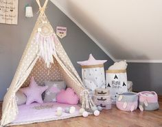 Teepee set Kids Play Tent Tipi Vanilla Queen by MamaPotrafi Kids Play Teepee, Childrens Teepee, Child Teepee, Princess Room, Little Girl Rooms, Kids Decor, Girls Bedroom, Bedroom Ideas, Kids Playing
