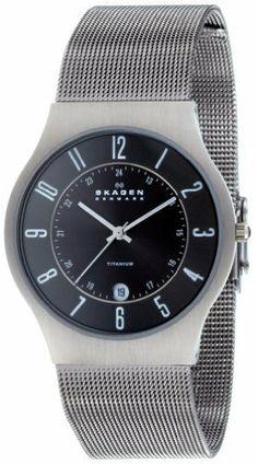 Skagen Men's 233XLTTM Titanium Watch Skagen. $67.00. Mineral crystal. Case diameter: 37 mm. Quartz movement. Titanium case; Gunmetal dial; Date function. Water-resistant to 99 feet (30 M). Save 50% Off!