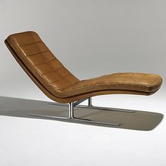 Anonymous; Matte Steel and Leather Chaise Longue for Brayton, 1960s.