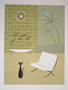 Mid Century Modern Painting Chair Cat Retro by donnamibus on Etsy. Art by Donna Mibus