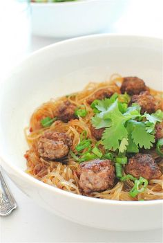 Asian-Spiced Mini Meatballs Over Vermicelli Noodles by @Beverly Weidner