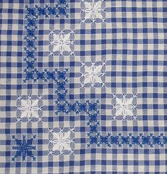 Risultati immagini per bordado español paso a paso Chicken Scratch Patterns, Chicken Scratch Embroidery, Hardanger Embroidery, Cross Stitch Embroidery, Hand Embroidery, Types Of Embroidery, Embroidery Patterns, Bordado Tipo Chicken Scratch, Gingham Fabric