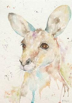Buy Kangaroo, Watercolour by Malgorzata Stepniak on Artfinder. Discover thousands of other original paintings, prints, sculptures and photography from independent artists. Watercolor Animals, Watercolor Paintings, Watercolor Paper, Original Paintings, Kangaroo Drawing, Kangaroo Illustration, Watercolor Painting Techniques, Bird Artwork, Happy Paintings