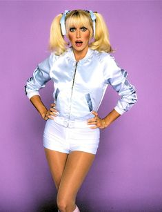Playful shot of Suzanne Somers in ponytails, satin disco jacket and tight hot pants - double yummy! Girl Celebrities, Celebs, Chrissy Snow, 80s Actresses, Top Tv Shows, Suzanne Somers, 70s Aesthetic, Three's Company, Seventies Fashion