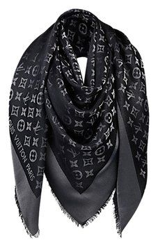 Louis Vuitton Louis Vuitton Monogram Shawl Scarf Lurex Shine Black Silver