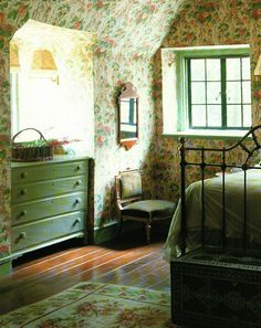 pretty green English cottage bedroom love that the dresser is tucked into the wa. - pretty green English cottage bedroom love that the dresser is tucked into the wall English Cottage Bedrooms, English Country Cottages, English Country Decor, Country Charm, Country Bedrooms, French Country, Country Life, English Bedroom, Country Cottage Bedroom
