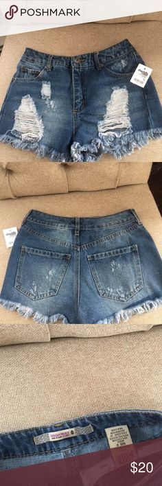 Charlotte Russe Distressed Denim Shorts Brandy new with tags.  Really cute distressed denim with 2 back pockets.  Start stocking up for spring and summer- warm weather is right around the corner! Charlotte Russe Shorts Jean Shorts