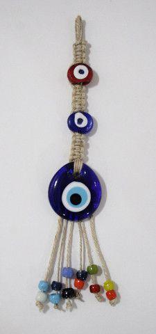Handmade Small Macrame Evil Eye Glass Wall Hanging