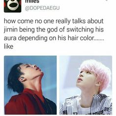 Don't even need to switch hair colors. Have you seen his aura change between Spring Day and Not Today?
