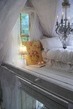 Heavenly haven loft bed - chandelier, tulle everywhere