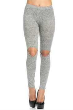 To The Limit Knee Cut Out Leggings - Heather Gray